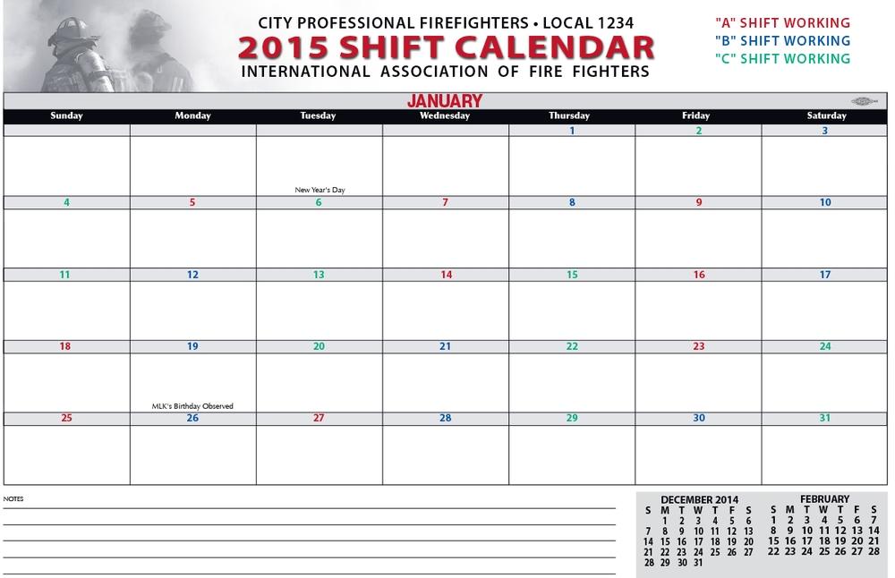 Shift Calendars Firefighters Print Design