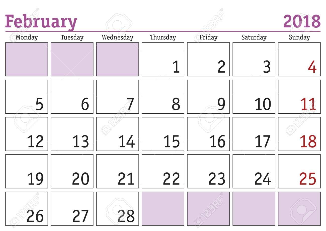 Simple Digital Calendar For February 2018 Vector Printable Calendar 89uj