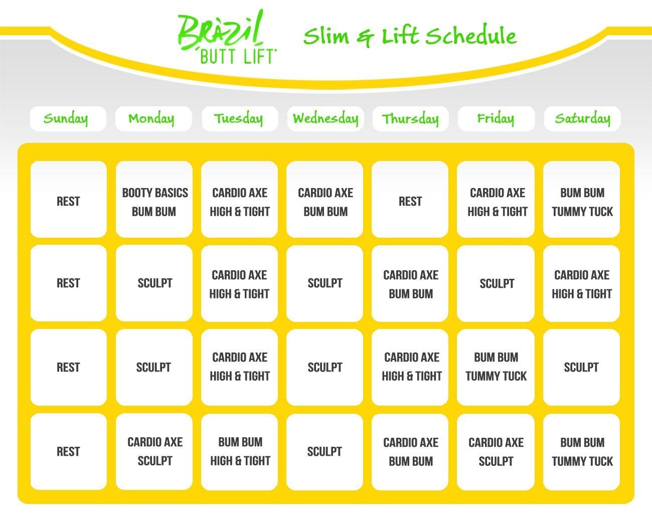 Slim And Lift Schedule Brazil Butt Lift 13001025 Fitness  Xjb