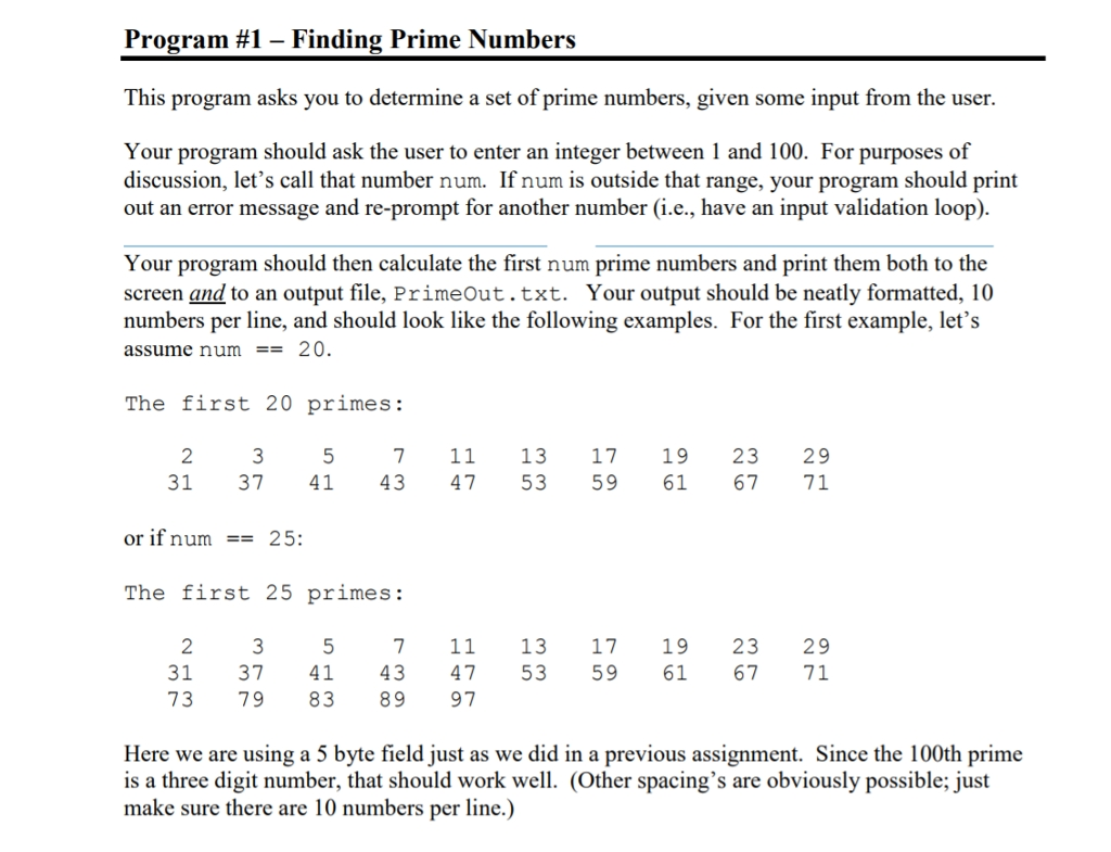 Solved Program 1 Finding Prime Numbers This Program Asks