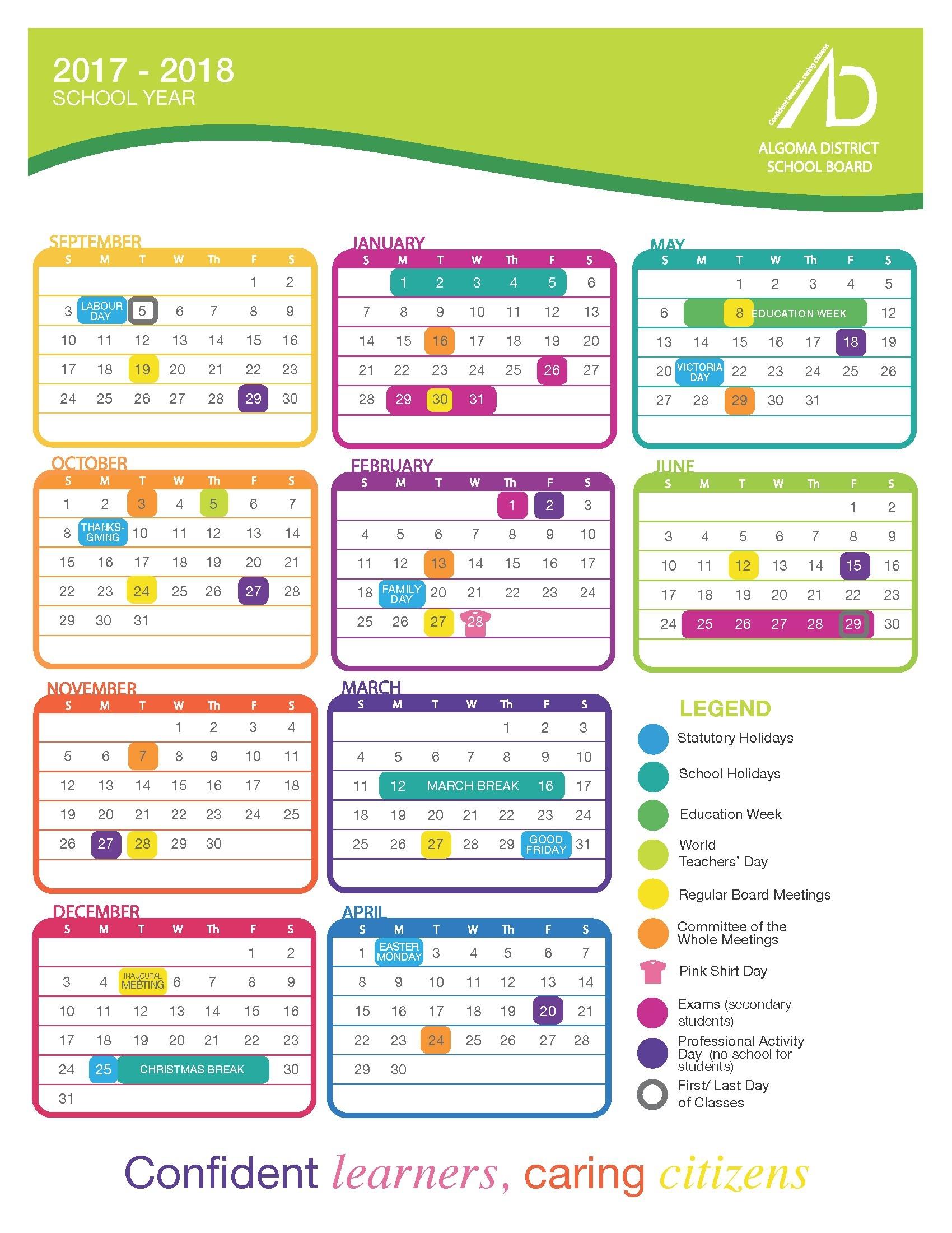 The No Frills Honor Calendar 2018 Calendar Printable Template