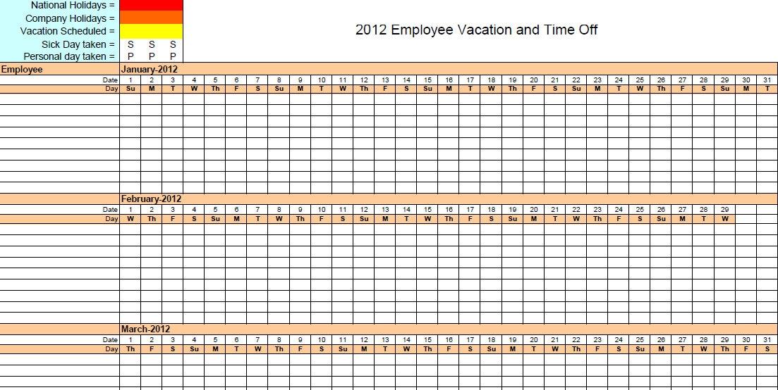 Vacation Time Calendar Template Teacheng
