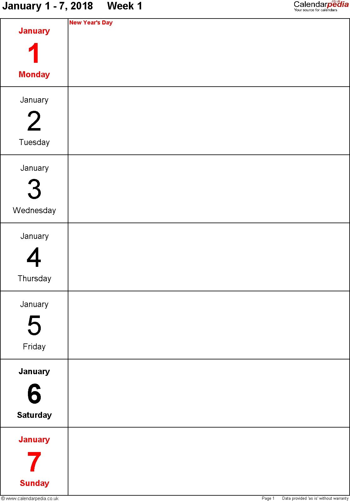 Weekly Calendar 2018 Uk Free Printable Templates For Word