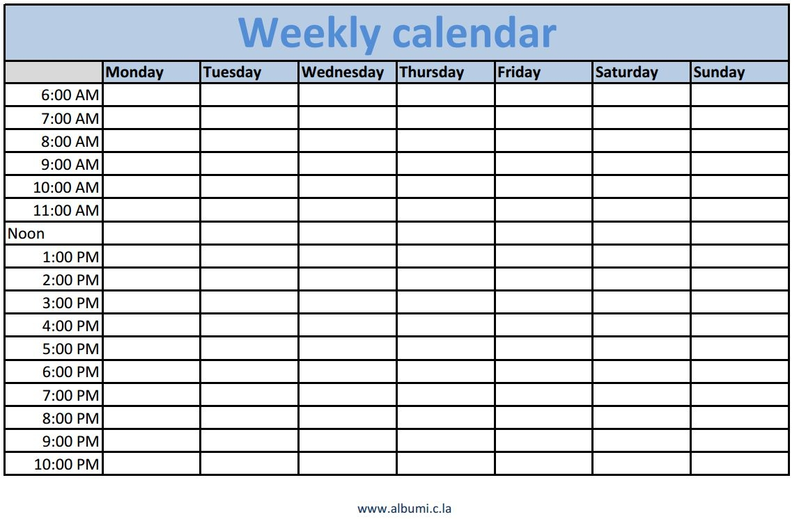 Weekly Calendar Template With Time Slots Romeolandinezco