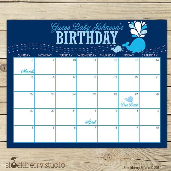 Whale Ba Shower Guess The Due Date Calendar Boy Ba Shower