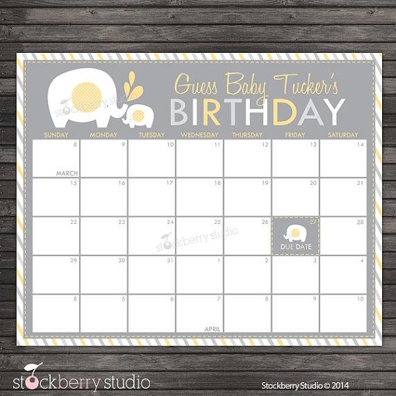 Yellow Elephant Ba Shower Guess The Due Date Calendar Printable