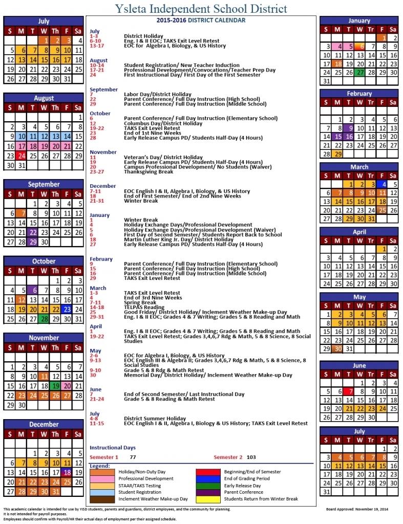 Ysleta Isd 2016 Calendar Calendar Printable 2017 Printable With3abry