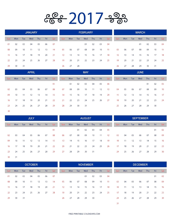 12 Month Colorful Calendar For 2017 Free Printable Calendars