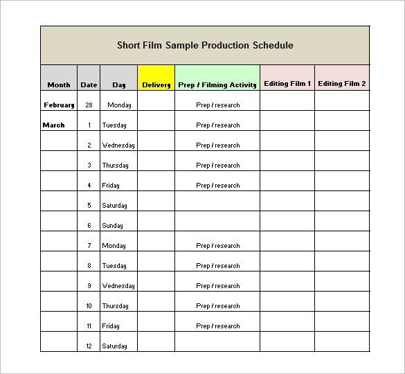 13 Production Schedule Templates Pdf Doc Free Premium Templates