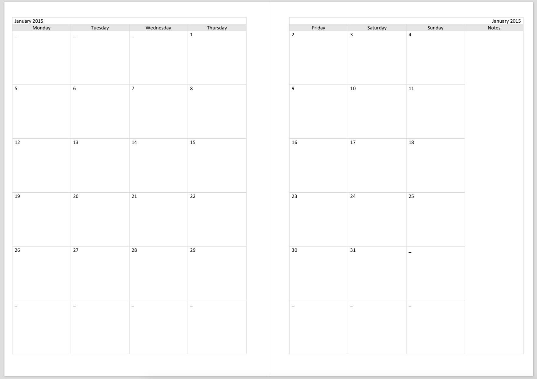 2 Page Calendar Template Goalgoodwinmetalsco