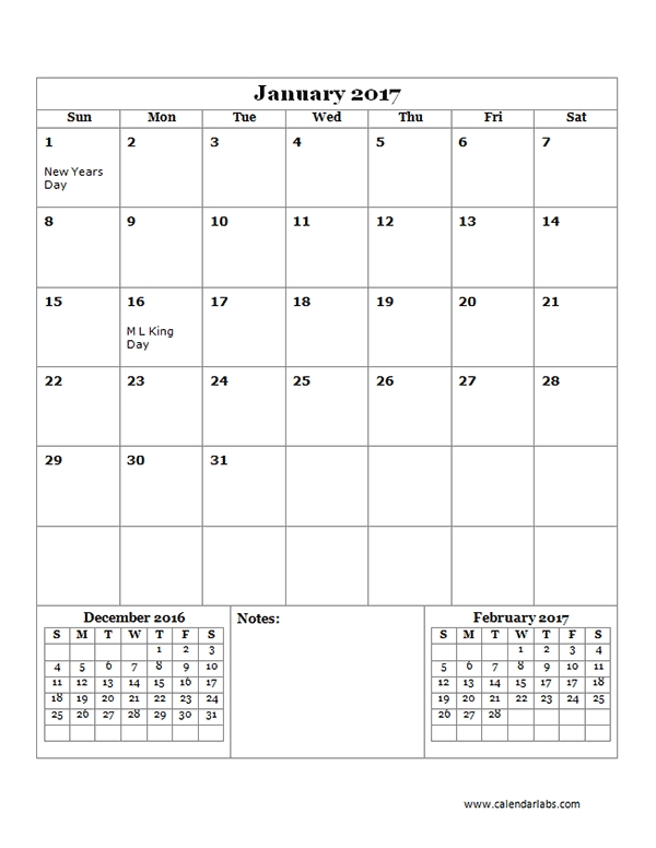 2017 Calendar Template Large Boxes Free Printable Templates