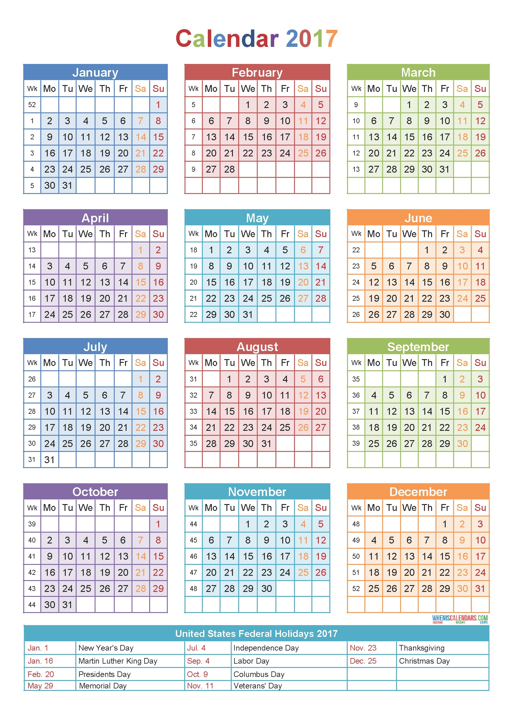 2017 Calendar With Holidays Printable Yearly Template Stunning Week