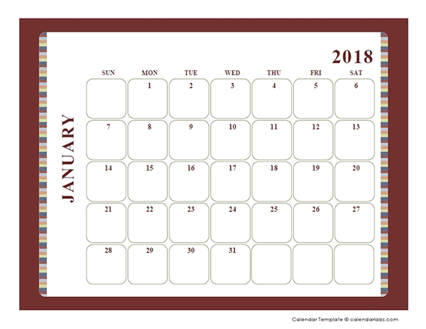 2018 Blank Calendar Large Boxes Template Free Printable Templates
