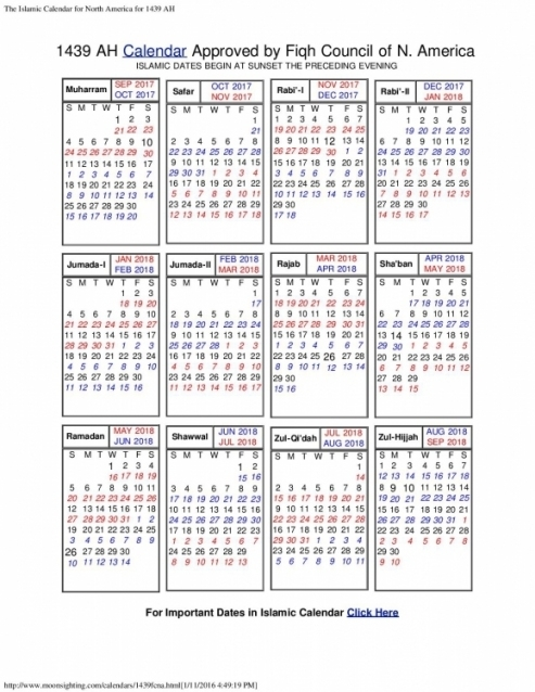 2018 Calendar With Islamic Dates In North America 88hy Blank