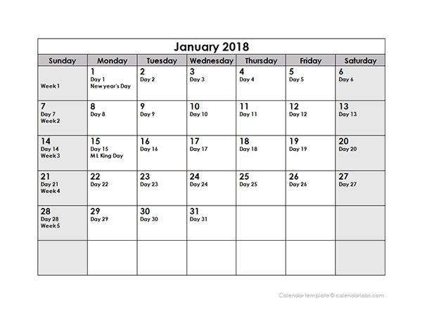 2018 Calendar With Julian Dates Free Printable Templates