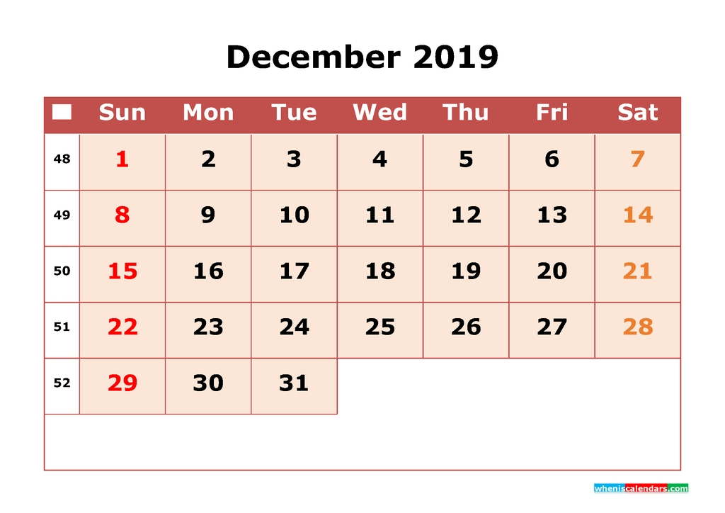 2019 Printable Calendar December With Week Numbers 2018 2019