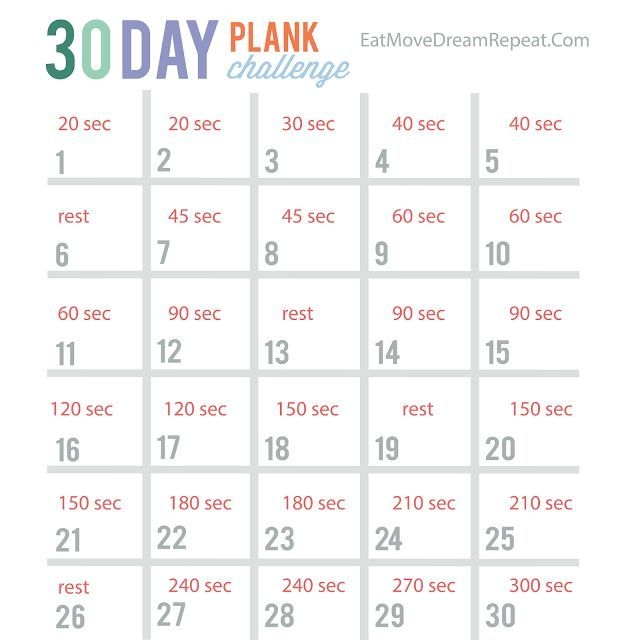 30 Day Plank Challenge Free Printable So You Want A Simple