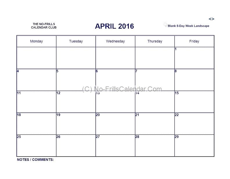 5 Day Printable Calendar Meloin Tandemco