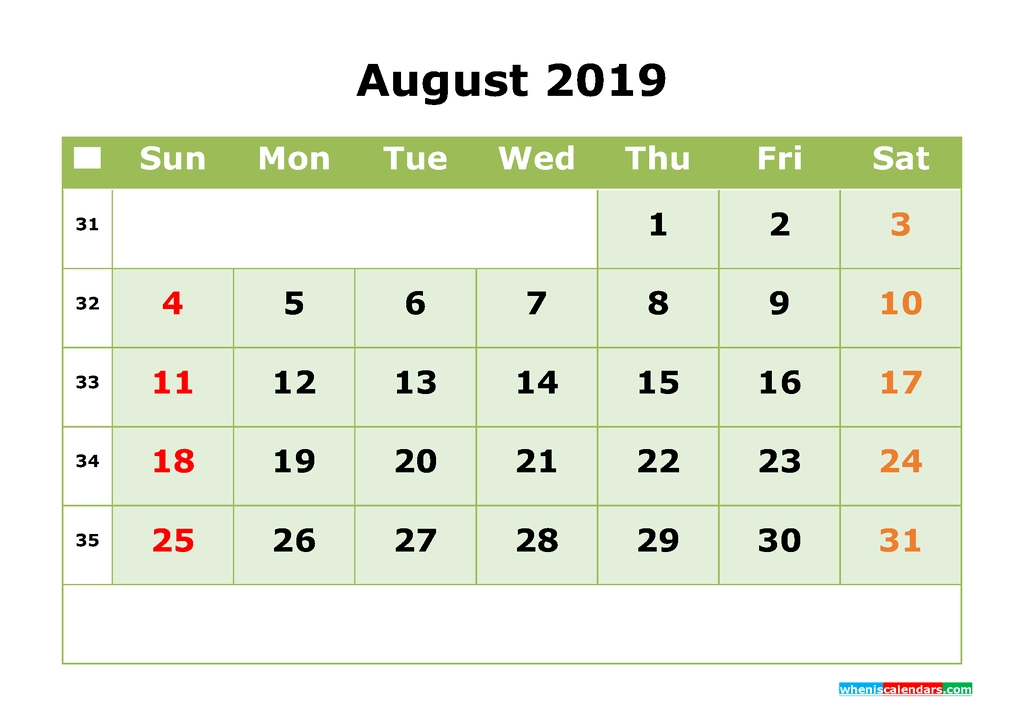 August 2019 Printable Calendar Month Month Calendar Template