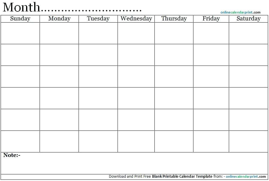 Blank Calendar Template Free Printable Weekly Monthly Word Mcarico