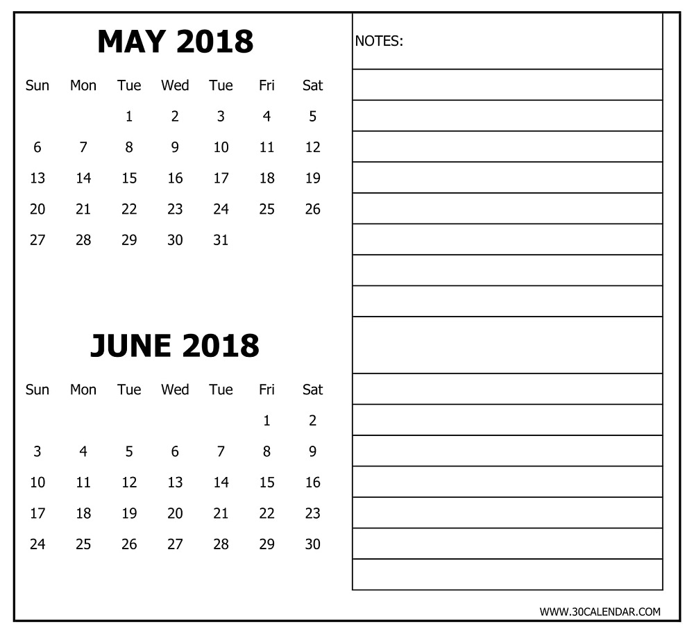 Blank May June 2018 Calendar Printable Two Months Template