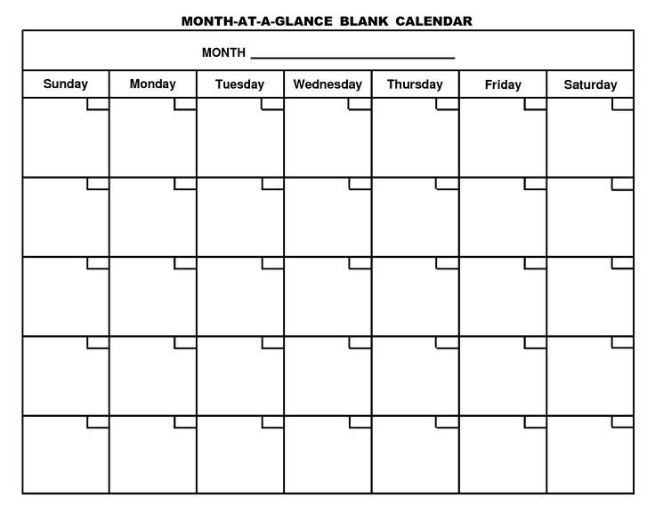Blank Monthly Calendar Templates