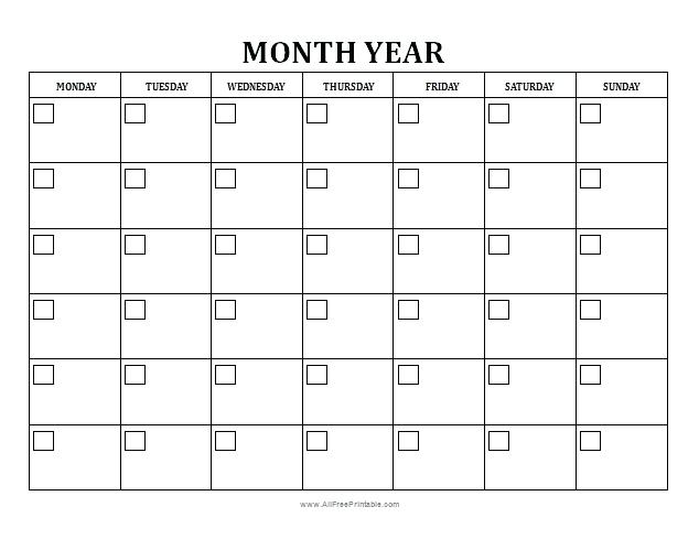 Blank Planning Calendar Template Monthly And Weekly Menu Planners