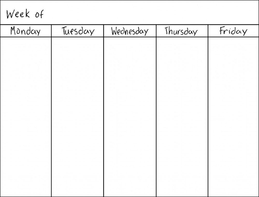 Blank Weekly Calendar Monday Through Friday Holaklonecco