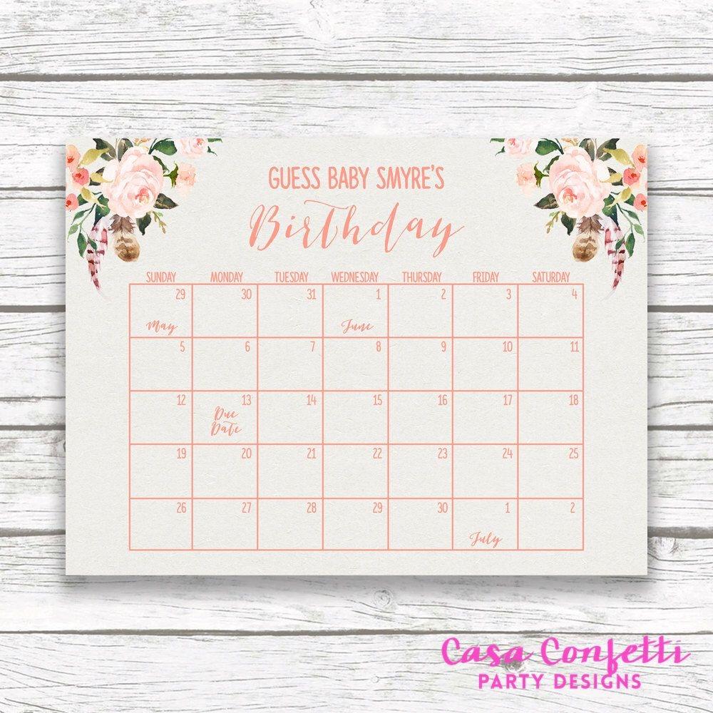 Boho Due Date Calendar Guess Bas Due Date Ba Shower Game