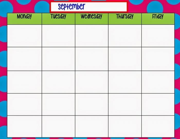 Calendar Template Monday Through Friday