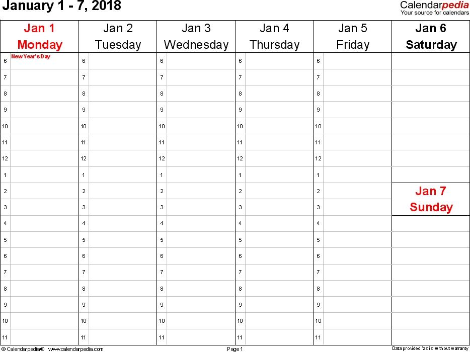 Calendar Weekly 2018 Meloin Tandemco