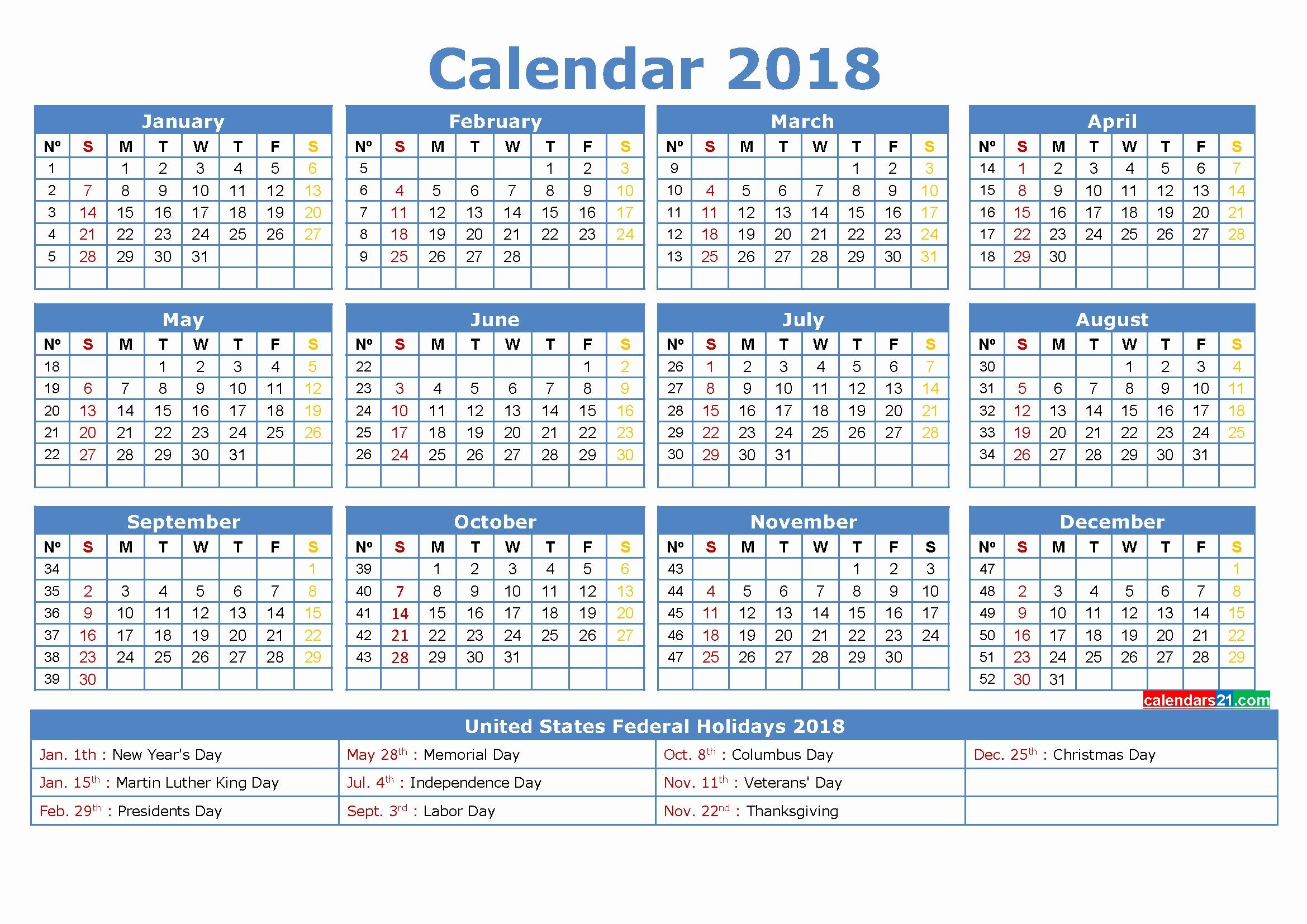 Calendar Weeks 2018 Calendar With Week Numbers Printable Pdf 2018