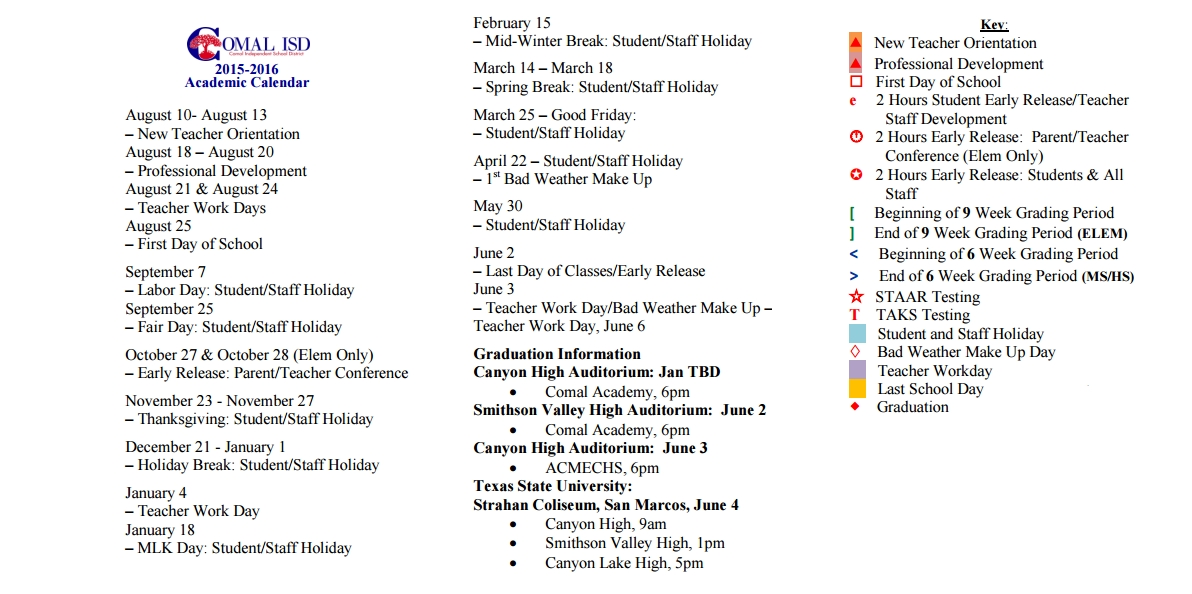 Canyon High School School District Instructional Calendar Comal