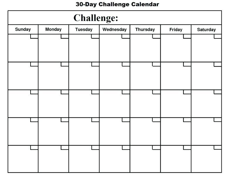 Day Calendar Template Great Printable Calendars 30 Challenge