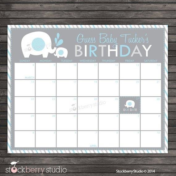 Elephant Ba Shower Guess The Due Date Calendar Printable Etsy