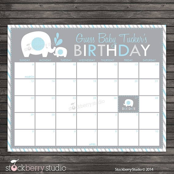 Elephant Ba Shower Guess The Due Date Calendar Printable
