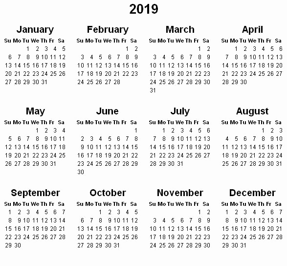 Entire 2019 Printable Calendar On One Page Yearly Calendar 2019 2018