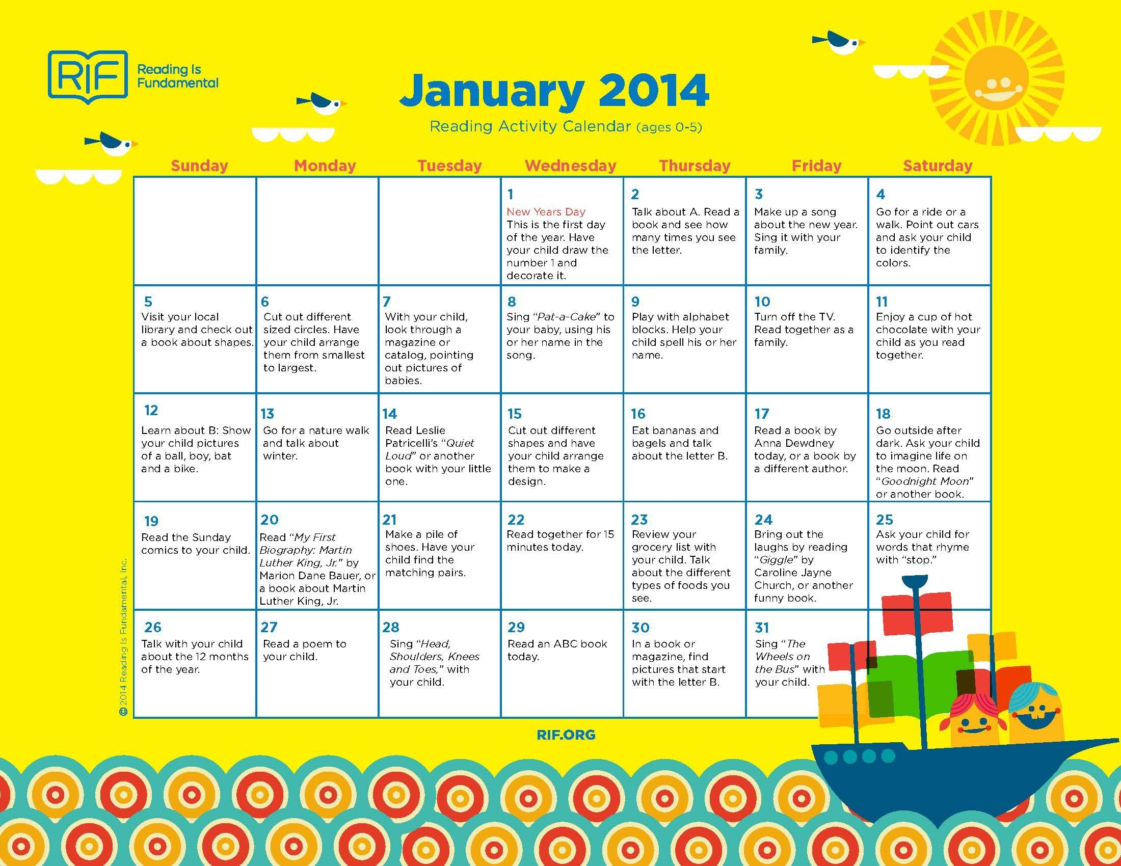 Free Downloads Of Monthly Reading Activity Calendars From Reading Is