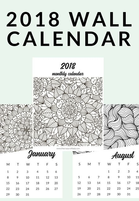 Free Printable 2018 Adult Coloring Calendar The Crazy Craft Lady