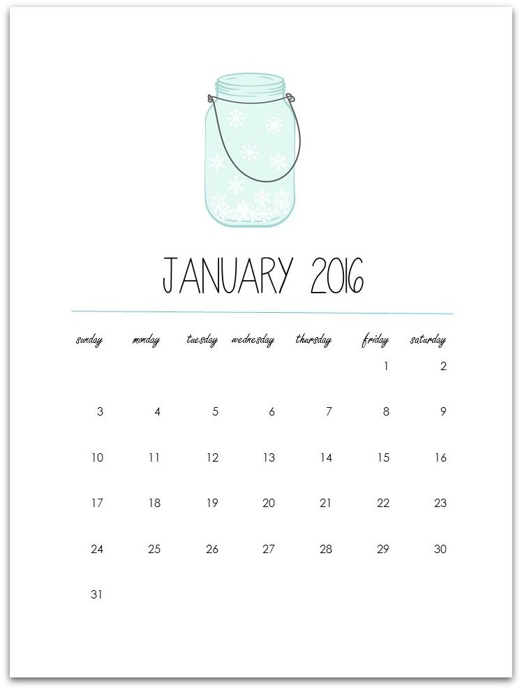 Free Printable Calendar Page 2016 Mason Jar Calendar Page January