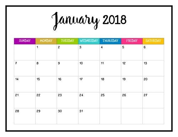 Free Printable Color Calendars For 2018 School Year With Photographs