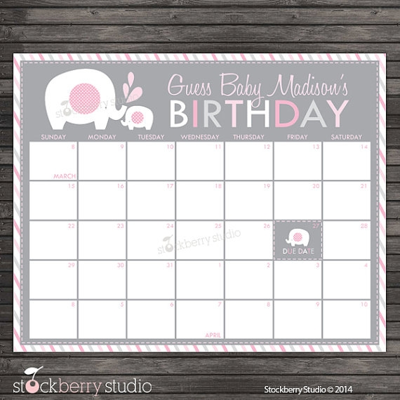 Girl Elephant Ba Shower Guess The Due Date Calendar Pink And