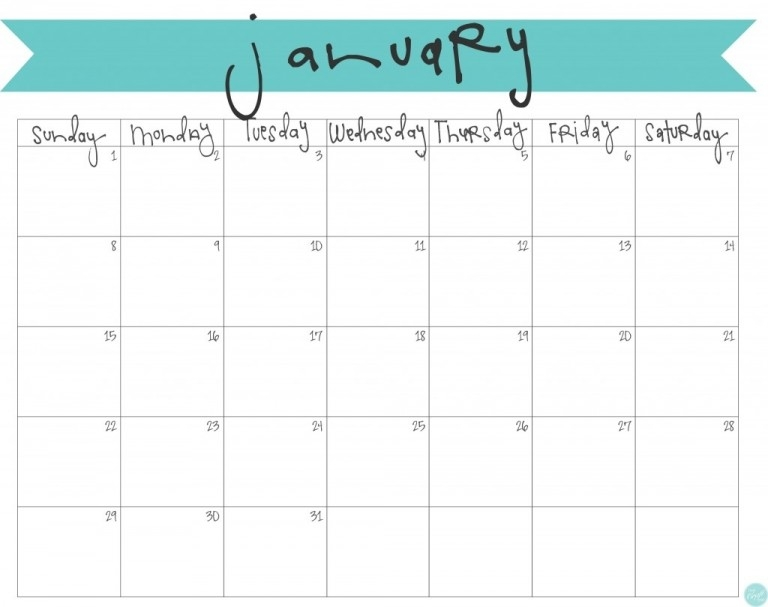 January 2017 Calendar Free Printable Live Craft Eat In Printable