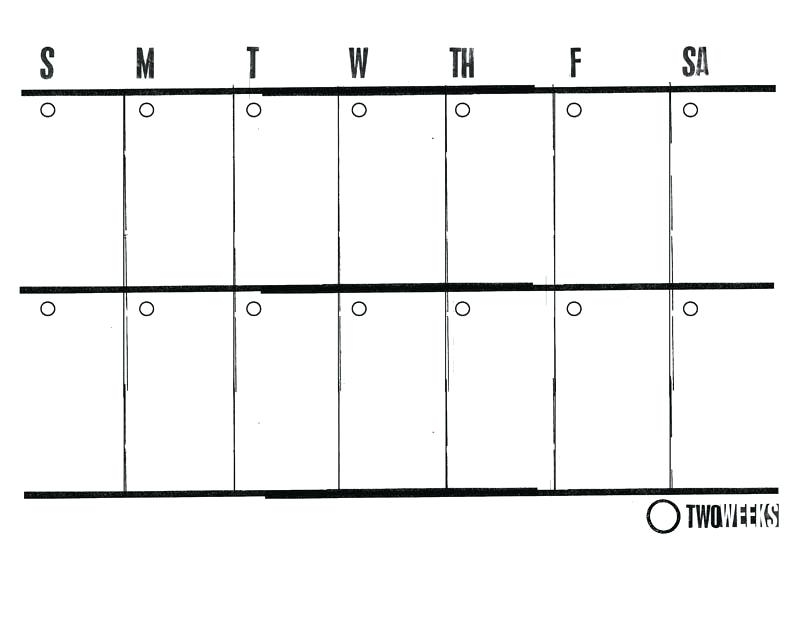 Lined Calendar Template Blank Two Week With Times Nnargco