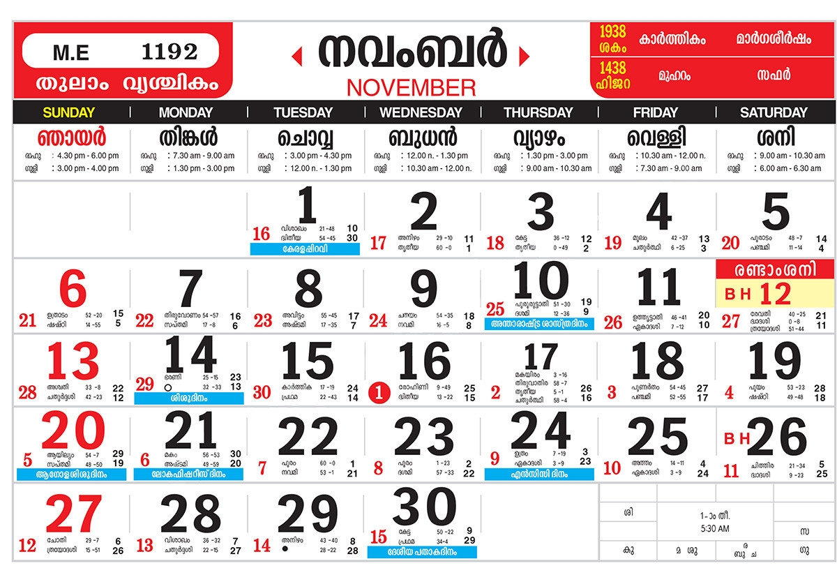 Mathrubhumi Malayalam Calendar 1994 November