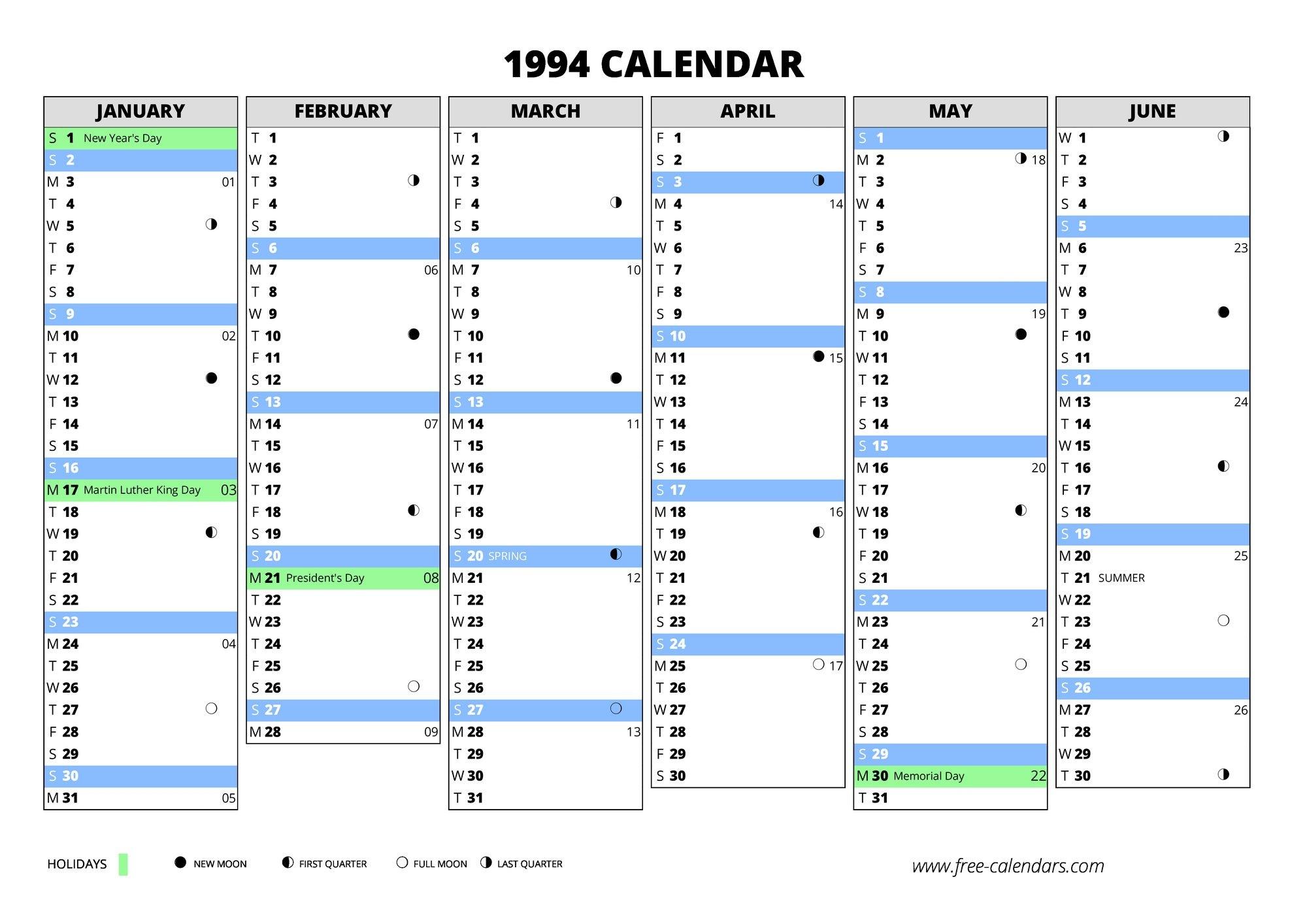 Mathrubhumi Calendar Of 1994