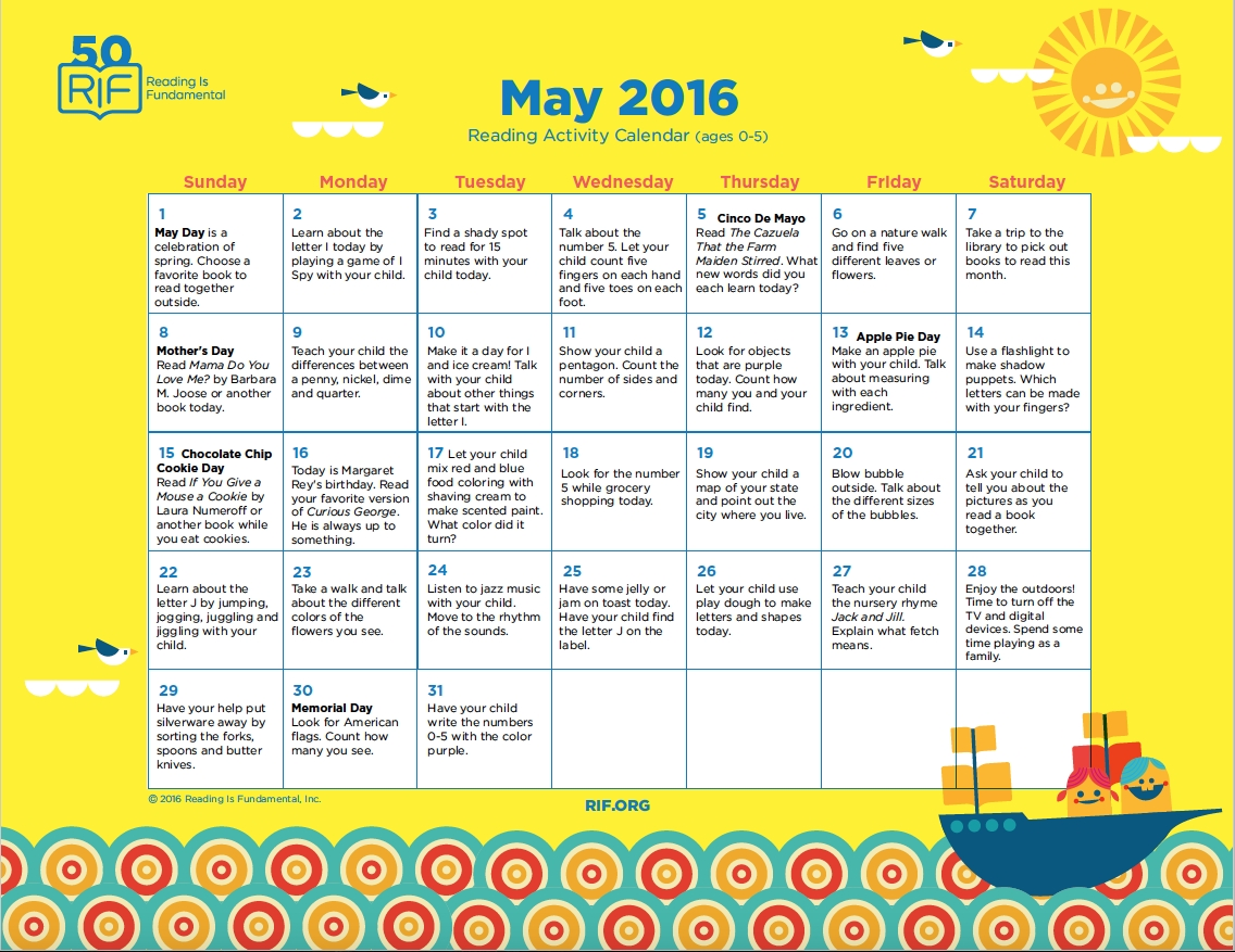 May 2016 Activity Calendar From Reading Is Fundamental Wwwrif