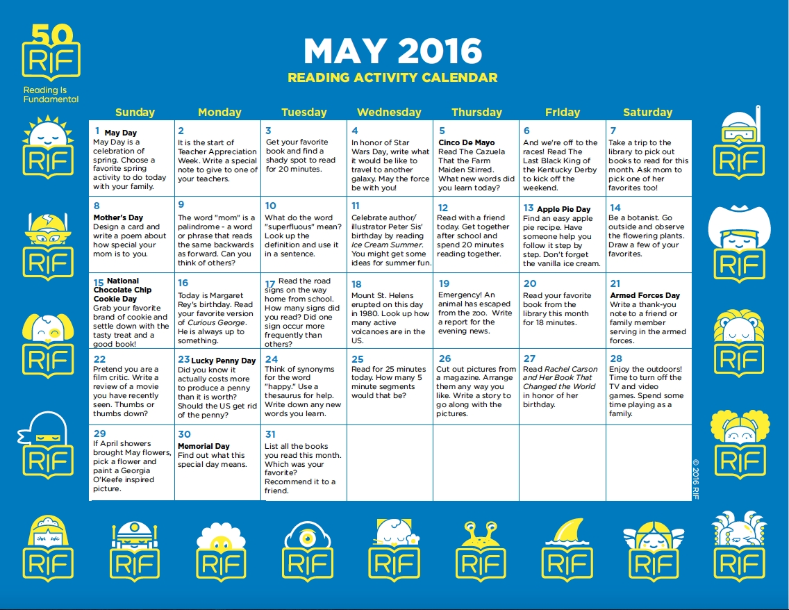 May Activity Calendar From Reading Is Fundamental Wwwrif
