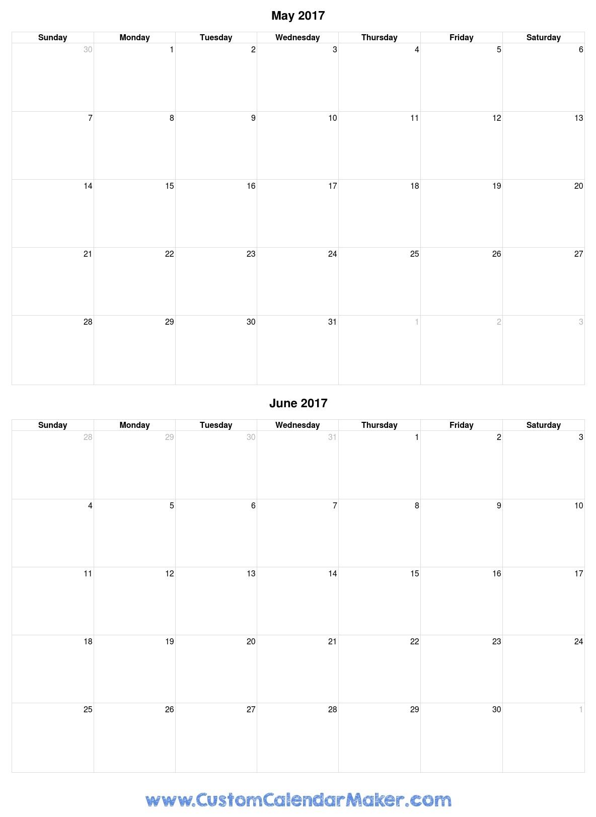 May And June 2017 Calendar