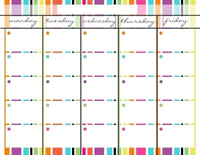 Monday Through Friday Blank Calendar Spring Stripes Schedule